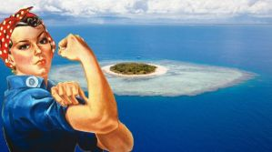 Rosie the Riveter image over a desert island