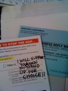 Fundraising Letter with I will support you when you stand up for choice written over it!