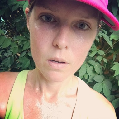 Erin sweating and wearing running gear